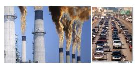 Figure 1 Pollutants emitted by fossil power plants and cars are responsible for 2/3 of all pollution. The rest is from industries.