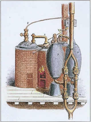 The 1698 Savery Engine - the world's first engine built by Thomas Savery as based on the designs of Denis Papin.